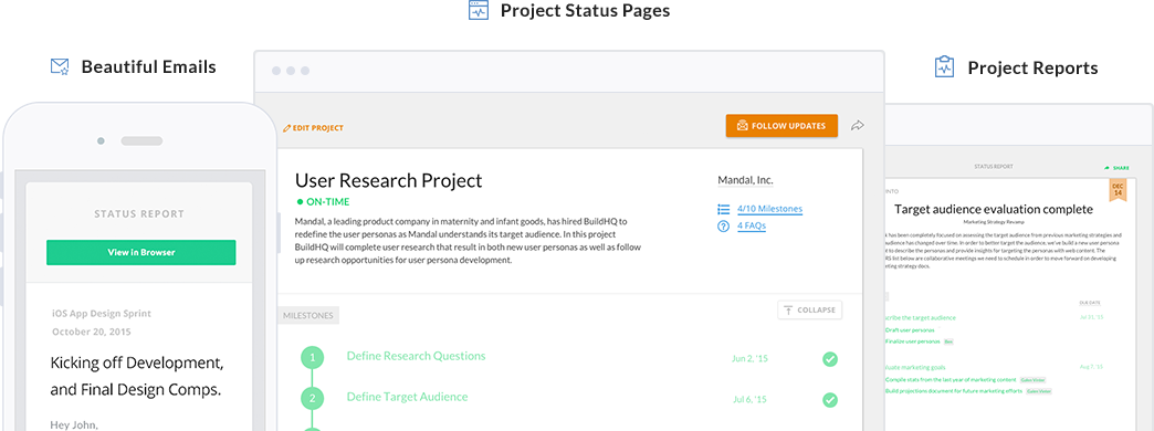 Project status pages and status reports for freelancers and agencies with clients